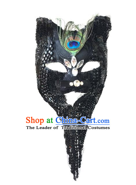 Top Grade Chinese Theatrical Luxury Headdress Ornamental Black Tassel Cat Mask, Halloween Fancy Ball Ceremonial Occasions Handmade Face Mask for Men