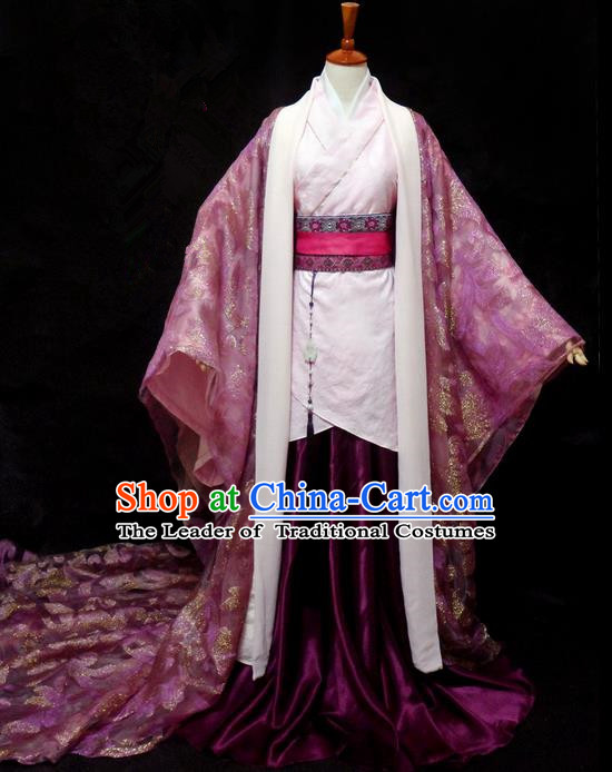 Traditional Ancient Chinese Young Lady Purple Costume, Chinese Han Dynasty Princess Dress Clothing for Women