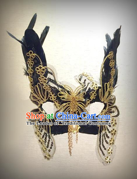 Top Grade Chinese Theatrical Headdress Traditional Ornamental Princess Butterfly Lace Mask, Brazilian Carnival Halloween Occasions Handmade Miami Mask for Women