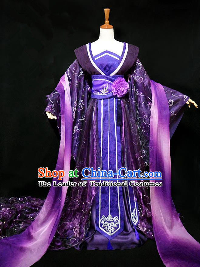 Traditional Ancient Chinese Young Lady Princess Purple Dance Costume, Chinese Tang Dynasty Imperial Consort Fairy Dress Hanfu Clothing for Women