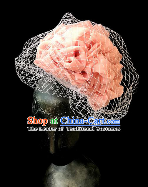 Top Grade Chinese Theatrical Headdress Ornamental Silk Flower Hair Accessories, Brazilian Carnival Halloween Occasions Handmade Miami Veil Headwear for Women
