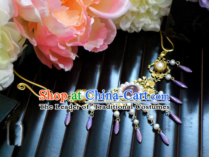Top Grade Handmade Traditional China Handmade Jewelry Accessories Beads Necklace, Ancient Chinese Princess Conophytum Pucillum Tassel Collar for Women