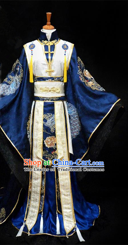 Traditional Ancient Chinese Thronfolger Nobility Childe Blue Costume Complete Set, Chinese Tang Dynasty Royal Prince Robes Hanfu Clothing for Men