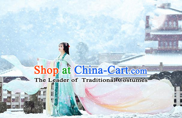 Traditional Ancient Chinese Imperial Concubine Fairy Costume, Chinese Tang Dynasty Princess Pink Dress Hanfu Embroidered Clothing for Women