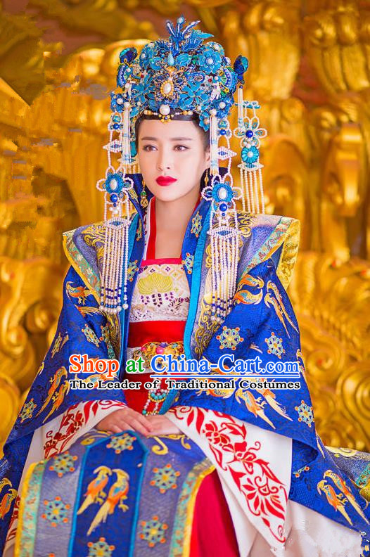 Traditional Ancient Chinese Imperial Empress Costume and Handmade Headpiece Complete Set, China Song Dynasty Queen Phoenix Coronet Embroidered Dress Clothing