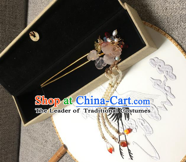 Asian Chinese Traditional Headdress Tassel Hairpins, China Ancient Handmade Bride Flowers Step Shake Headwear for Women