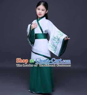 Traditional Ancient Chinese Imperial Princess Fairy Printing Costume, Children Elegant Hanfu Clothing Han Dynasty Green Curve Bottom Dress Clothing for Kids
