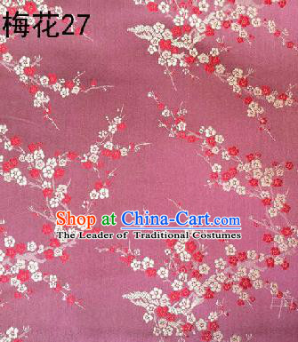 Asian Chinese Traditional Embroidery Plum Blossom Pink Silk Fabric, Top Grade Brocade Embroidered Tang Suit Hanfu Dress Fabric Cheongsam Material