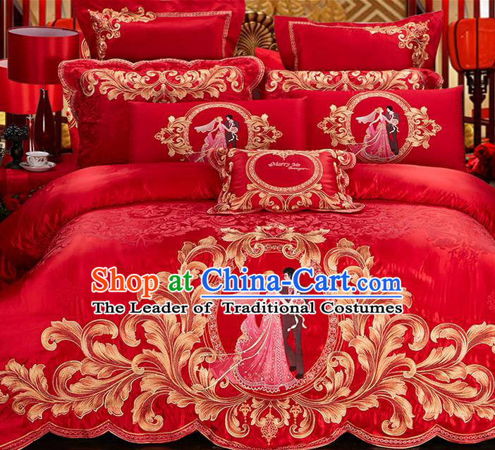 Traditional Asian Chinese Style Wedding Article Bedding Red Sheet Complete Set, Embroidery Bride Bridegroom Ten-piece Duvet Cover Satin Drill Textile Bedding Suit