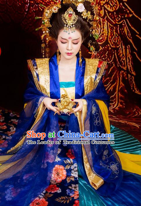 Traditional Asian Chinese Ancient Imperial Consort Costume, China Elegant Hanfu Clothing Tang Dynasty Imperial Concubine Embroidered Tailing Dress Clothing for Women