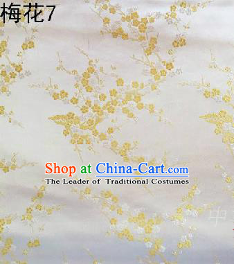 Asian Chinese Traditional Embroidery Golden Plum Blossom White Silk Fabric, Top Grade Brocade Embroidered Tang Suit Hanfu Dress Fabric Cheongsam Cloth Material