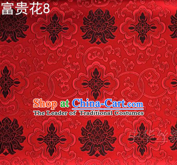 Asian Chinese Traditional Black Riches and Honour Flowers Embroidered Red Silk Fabric, Top Grade Arhat Bed Brocade Satin Tang Suit Hanfu Dress Fabric Cheongsam Cloth Material