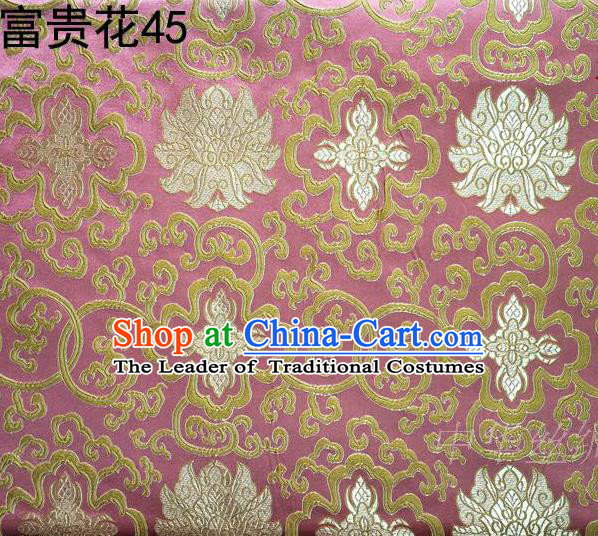 Asian Chinese Traditional Golden Riches and Honour Flowers Embroidered Pink Silk Fabric, Top Grade Arhat Bed Brocade Satin Tang Suit Hanfu Dress Fabric Cheongsam Cloth Material