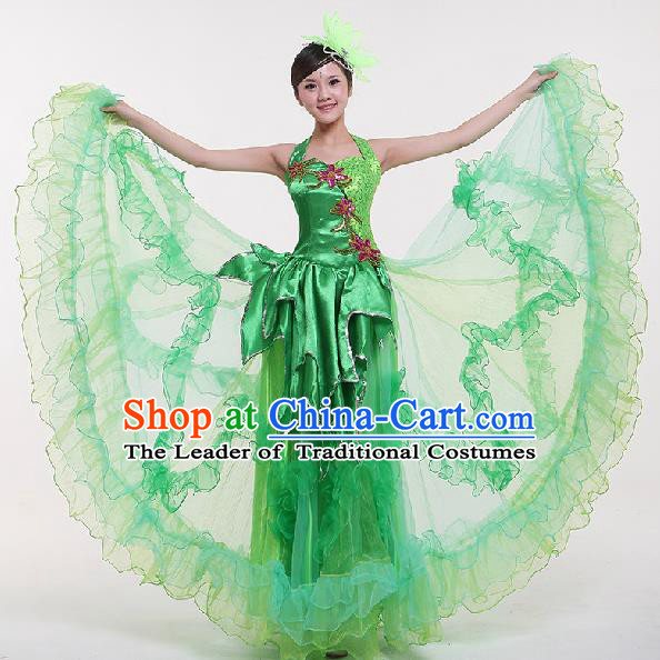 Chinese Classic Stage Performance Dance Costumes, Opening Dance Jasmine Flower Green Dress, Folk Dance Classic Big Swing Clothing for Women