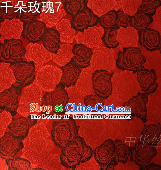 Asian Chinese Traditional Jacquard Weave Rose Flowers Wine Red Satin Mulberry Silk Fabric, Top Grade Brocade Tang Suit Hanfu Princess Dress Fabric Cheongsam Cloth Material