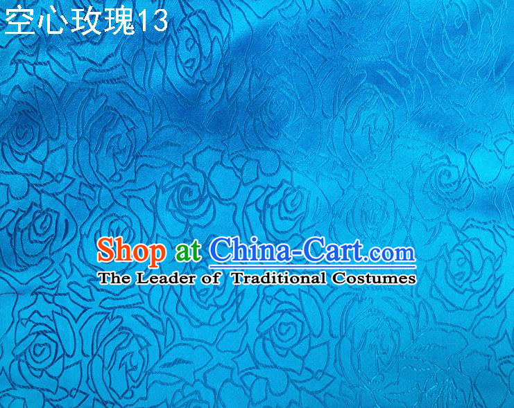 Asian Chinese Traditional Jacquard Weave Rose Flowers Blue Satin Silk Fabric, Top Grade Brocade Tang Suit Hanfu Coat Dress Fabric Cheongsam Cloth Material