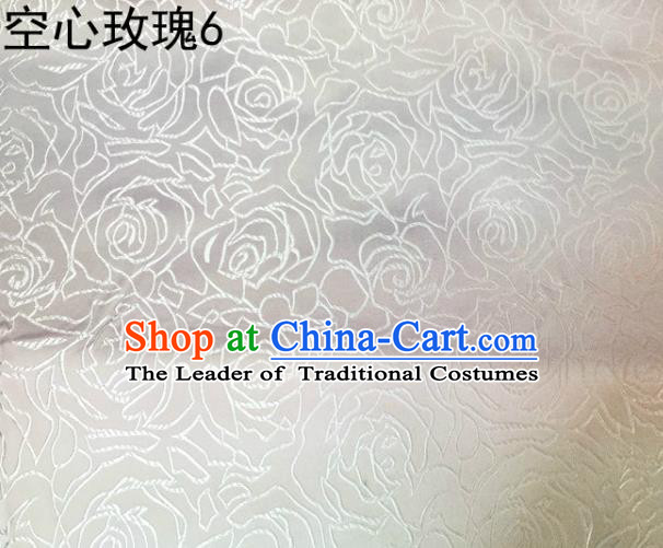 Asian Chinese Traditional Jacquard Weave Embroidered Rose Flowers White Satin Silk Fabric, Top Grade Brocade Tang Suit Hanfu Coat Dress Fabric Cheongsam Cloth Material