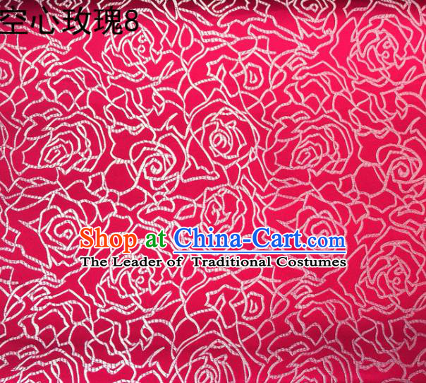 Asian Chinese Traditional Jacquard Weave Embroidered Rose Flowers Rosy Satin Silk Fabric, Top Grade Brocade Tang Suit Hanfu Coat Dress Fabric Cheongsam Cloth Material