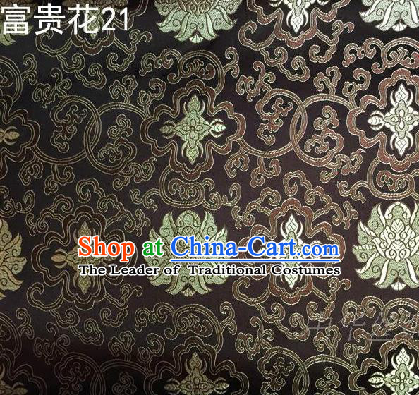 Asian Chinese Traditional Golden Riches and Honour Flowers Embroidered Brown Silk Fabric, Top Grade Arhat Bed Brocade Satin Tang Suit Hanfu Dress Fabric Cheongsam Cloth Material