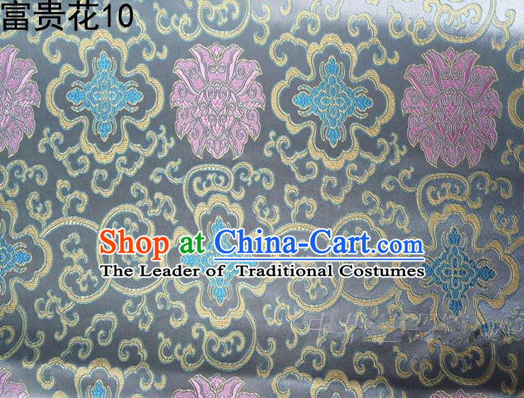 Asian Chinese Traditional Riches and Honour Flowers Embroidered Grey Silk Fabric, Top Grade Arhat Bed Brocade Satin Tang Suit Hanfu Dress Fabric Cheongsam Cloth Material