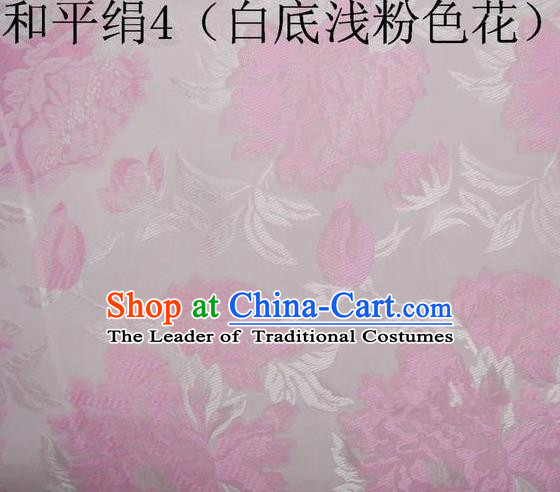 Asian Chinese Traditional Embroidered Pink Flowers White Silk Fabric, Top Grade Arhat Bed Brocade Tang Suit Hanfu Dress Fabric Cheongsam Cloth Material