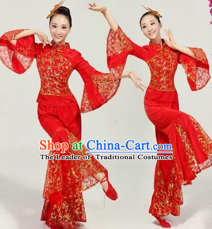 Traditional Chinese Classical Dance Yangge Fan Dance Costume, Folk Dance Drum Dance Red Uniform Yangko Costume Complete Set for Women