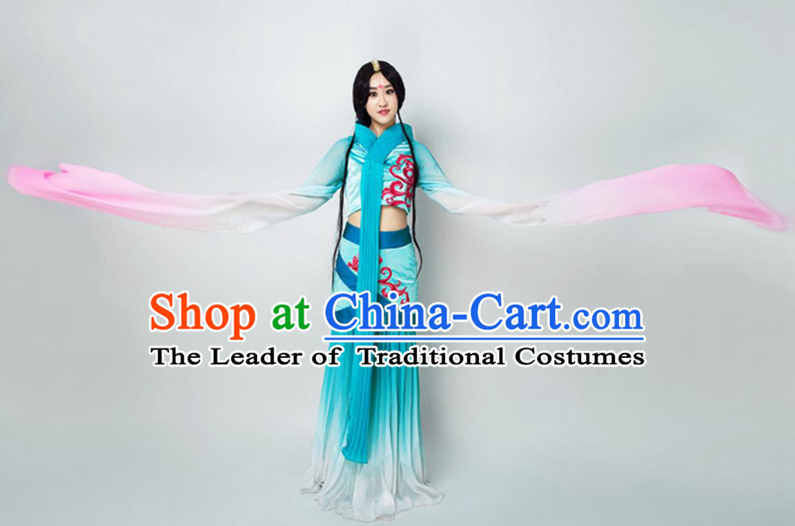 Traditional Chinese Classical Dance Flying Dance Costume, Folk Dance Water Sleeve Dance Blue Dress for Women