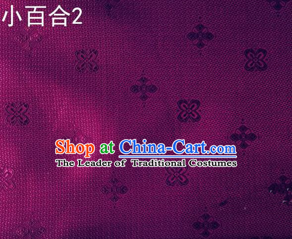 Asian Chinese Traditional Jacquard Weave Satin Purple Silk Fabric, Top Grade Brocade Tang Suit Hanfu Dress Fabric Cheongsam Cloth Material