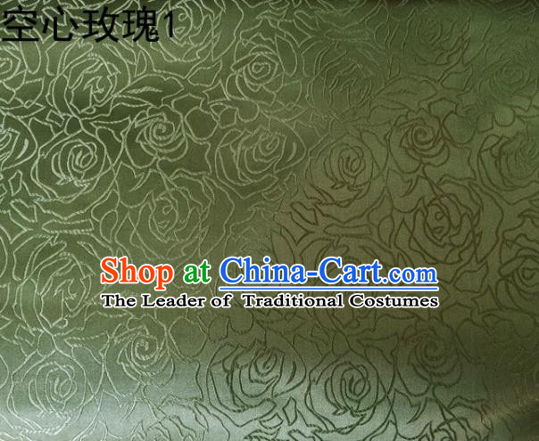 Asian Chinese Traditional Jacquard Weave Embroidered Rose Flowers Green Satin Silk Fabric, Top Grade Brocade Tang Suit Hanfu Coat Dress Fabric Cheongsam Cloth Material