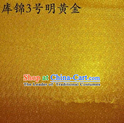 Asian Chinese Traditional Jacquard Weave Bright Golden Xiuhe Suit Satin Silk Fabric, Top Grade Brocade Tang Suit Hanfu Dress Fabric Cheongsam Cloth Material