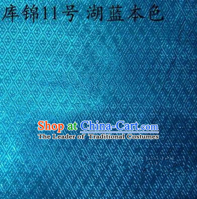 Asian Chinese Traditional Jacquard Weave Blue Xiuhe Suit Satin Silk Fabric, Top Grade Brocade Tang Suit Hanfu Dress Fabric Cheongsam Cloth Material