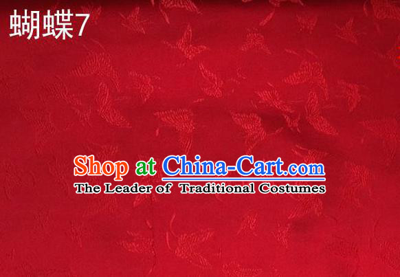 Asian Chinese Traditional Embroidery Butterflies Red Satin Silk Fabric, Top Grade Brocade Tang Suit Hanfu Fabric Cheongsam Cloth Material