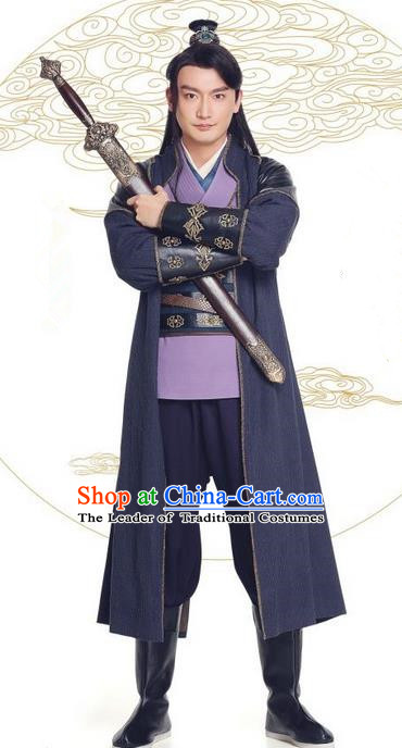Asian Chinese Northern and Southern Dynasty Swordsman Costume and Headpiece Complete Set, China Ancient Elegant Hanfu Kawaler Robes Clothing