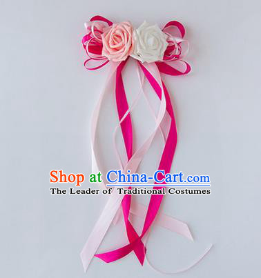 Top Grade Wedding Accessories Decoration, China Style Wedding Limousine Satin Bowknot Rosy Flowers Bride Long Ribbon Garlands