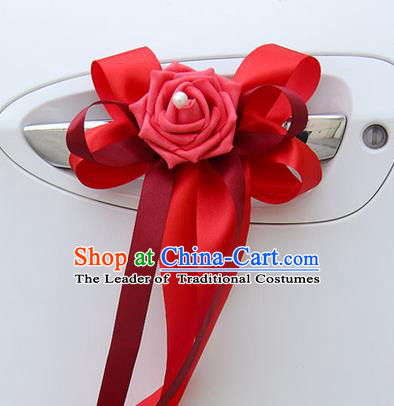 Top Grade Wedding Accessories Decoration, China Style Wedding Limousine Bowknot Red Flowers Bride Ribbon Garlands
