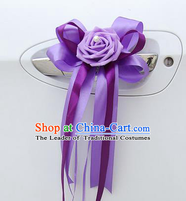 Top Grade Wedding Accessories Decoration, China Style Wedding Limousine Bowknot Flowers Bride Purple Ribbon Garlands
