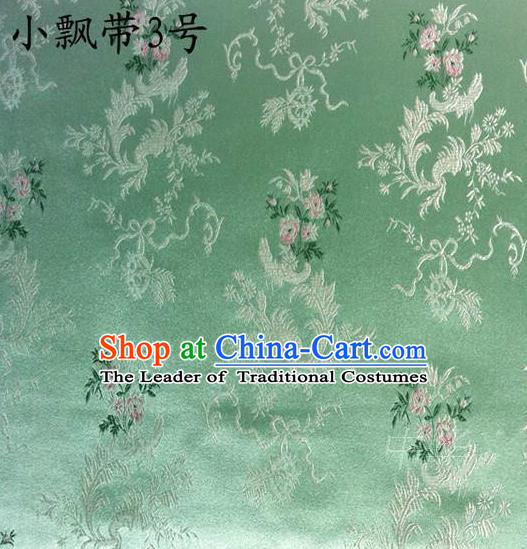 Traditional Asian Chinese Handmade Embroidery Flowers Ribbons Satin Green Silk Fabric, Top Grade Nanjing Brocade Tang Suit Hanfu Clothing Fabric Cheongsam Cloth Material