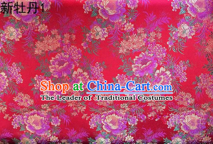 Traditional Asian Chinese Handmade Embroidery Peony Flowers Satin Red Silk Fabric, Top Grade Nanjing Brocade Ancient Costume Tang Suit Hanfu Clothing Fabric Cheongsam Cloth Material