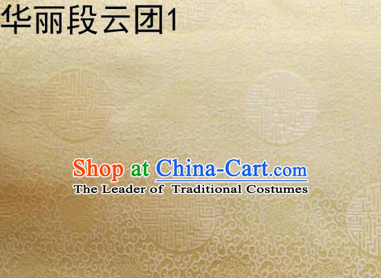 Traditional Asian Chinese Handmade Embroidery Auspicious Clouds Satin Golden Tang Suit Silk Fabric, Top Grade Nanjing Brocade Ancient Costume Hanfu Clothing Fabric Cheongsam Cloth Material