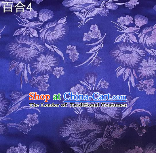Traditional Asian Chinese Handmade Embroidery Greenish Lily Flower Satin Tang Suit Blue Fabric, Nanjing Brocade Ancient Costume Hanfu Cheongsam Cloth Material