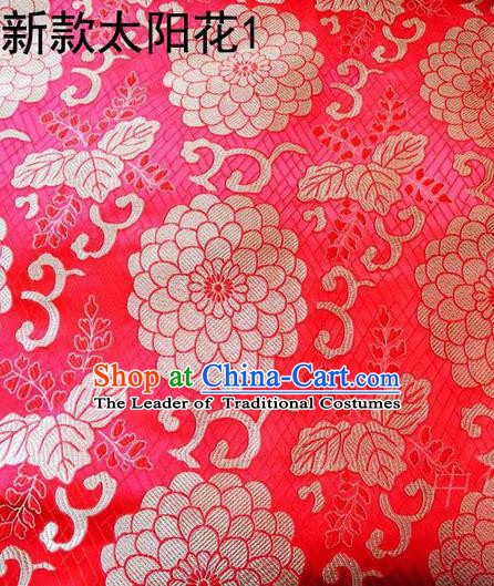 Traditional Asian Chinese Handmade Embroidery Sun Flowers Silk Satin Tang Suit Red Fabric, Nanjing Brocade Ancient Costume Hanfu Cheongsam Cloth Material