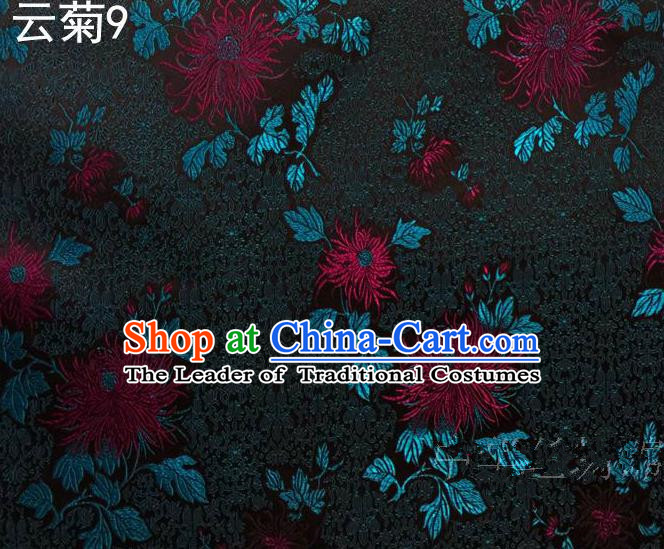 Traditional Asian Chinese Handmade Jacquard Weave Embroidery Chrysanthemum Satin Tang Suit Black Silk Fabric, Top Grade Nanjing Brocade Ancient Costume Hanfu Clothing Fabric Cheongsam Cloth Material
