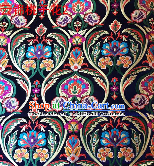 Traditional Asian Chinese Handmade Embroidery Peach Pattern Silk Satin Tang Suit Navy Fabric, Nanjing Brocade Ancient Costume Hanfu Cheongsam Cloth Material