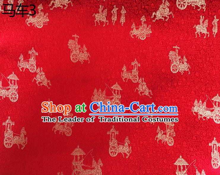 Traditional Asian Chinese Handmade Embroidery Carriage Silk Satin Tang Suit Red Fabric, Nanjing Brocade Ancient Costume Hanfu Cheongsam Cloth Material
