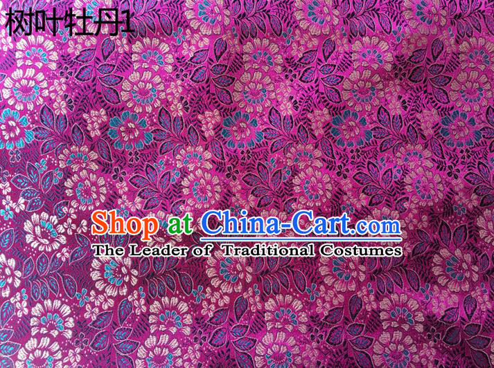 Traditional Asian Chinese Handmade Embroidery Peony Leaf Silk Satin Tang Suit Purple Fabric, Nanjing Brocade Ancient Costume Hanfu Cheongsam Cloth Material