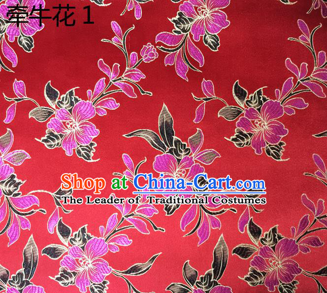 Traditional Asian Chinese Handmade Embroidery Morning Glory Flowers Silk Satin Tang Suit Red Fabric Drapery, Nanjing Brocade Ancient Costume Hanfu Cheongsam Cloth Material