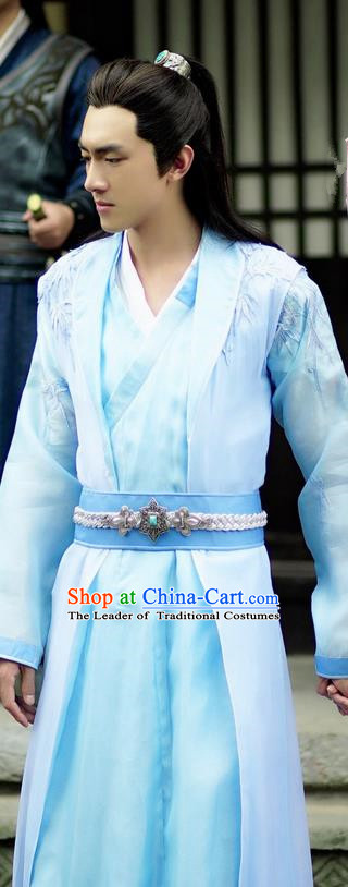 Asian Chinese Traditional Northern and Southern Dynasties Prince Costume and Headpiece Complete Set, Princess Agents China Elegant Hanfu Nobility Childe Embroidery Clothing