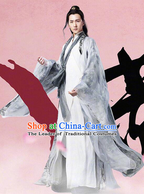 Asian Chinese Traditional Crown Prince Costume and Headpiece Complete Set, Films Once Upon a Time China Elegant Hanfu Throne Heirs Clothing for Men