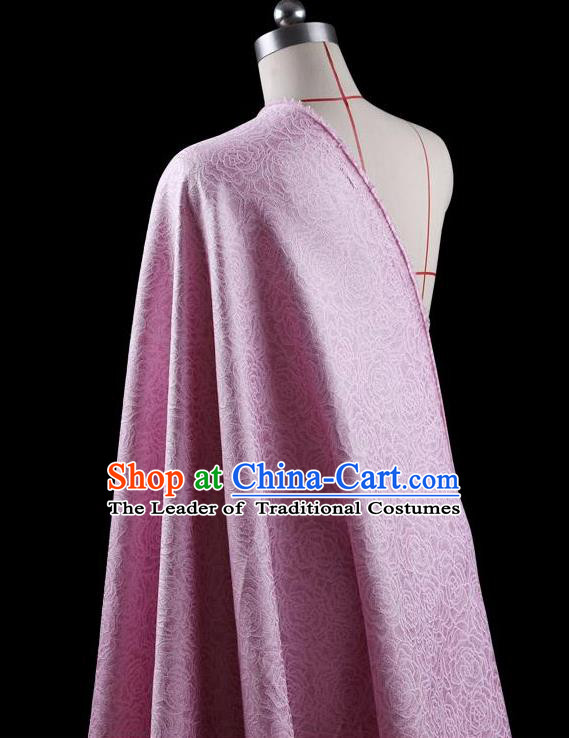 Traditional Asian Chinese Handmade Embroidery Jacquard Weave Coat Silk Tapestry Pink Fabric Drapery, Top Grade Nanjing Brocade Ancient Costume Cheongsam Cloth Material