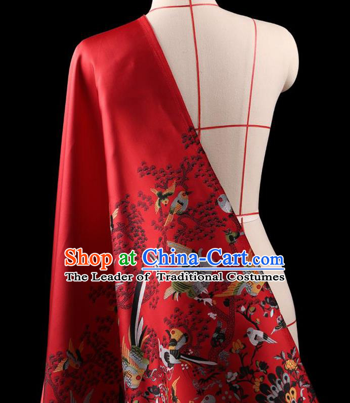 Traditional Asian Chinese Handmade Embroidery Dress Silk Satin Red Fabric Drapery, Top Grade Nanjing Brocade Ancient Costume Cheongsam Cloth Material